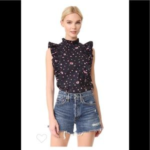 Rebecca Taylor Floral Ruffle Pleated Top Sz0⚡️